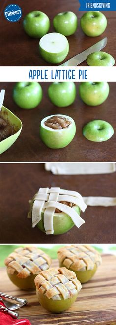 No sharing necessary with these individual apple pies! Pour your pie filling into hollowed out apples, garnish with cinnamon, and top with a lattice crust to make these easy and impressive desserts. T (Baking Desserts Treats) Apple Recipes, Fall Recipes, Baking Recipes, Holiday Recipes, Holiday Drinks, Baking Desserts, Healthy Recipes, Pasta Recipes, Just Desserts