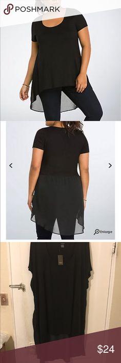 Torrid size 5x hi:lo chiffon back top bnwt Hi:lo chiffon back size 5x bnwt torrid Tops Tunics
