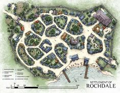 The Settlement of Rochdale, the largest instance of civilization in the Ancasta Flatlands. You can pick up a high-res copy of the Rochdale map, alongside maps of 4 other locations featured on the city. Fantasy City Map, Fantasy Town, Fantasy Village, Maps Design, Rpg Pathfinder, Castlevania, Village Map, Rpg Map, Map Layout