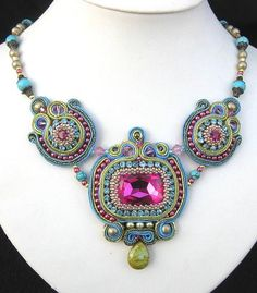 Blue and Pink Soutache necklace by Cielo Design on Flickr.