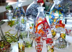 Glass Painting - what a great way to give new life to plain, ordinary glass items