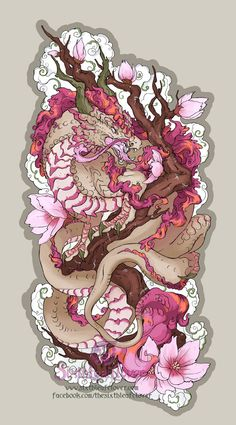 Sakura Dragon Stickers by The-SixthLeafClov. - - Wild Sakura Dragon Stickers by The-SixthLeafClov…. – -Wild Sakura Dragon Stickers by The-SixthLeafClov. - - Wild Sakura Dragon Stickers by The-SixthLeafClov…. Japanese Tattoo Designs, Japanese Tattoo Art, Tatoo Art, Body Art Tattoos, Sleeve Tattoos, Tattoo Ink, Dragon Tattoo Drawing, Koi Dragon Tattoo, Arabic Tattoos