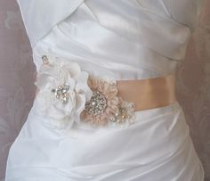 Pale Peach Sash, Peach Blush Bridal Sash, Wedding Belt, Rhinestone and Pearl Bridal Sash - QUINN. $96.00, via Etsy.