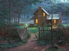 Welcome Summer by Mark Keathley ~ cabin aglow country dusk racoons deer peaceful