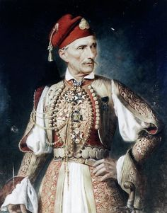 """""""Portrait of Athanasios Valtinos, Greek Fighter of the 1821 Revolution"""" by an unknown artist century) 1800s Clothing, Greek Clothing, Greek Traditional Dress, Traditional Outfits, Ancient Greek Costumes, Middle Eastern Fashion, In Ancient Times, Folk Costume, Costume Design"""