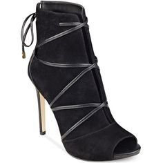 Guess Women's Ayana Peep Toe Lace-Up Booties (530 ILS) ❤ liked on Polyvore featuring shoes, boots, ankle booties, black suede, black ankle booties, suede booties, lace up peep toe booties, peep-toe booties and black boots