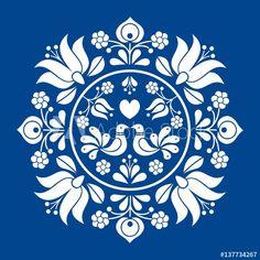 Folk Embroidery Patterns Hungarian folk vector motif - Buy this stock vector and explore similar vectors at Adobe Stock - Hungarian Embroidery, Folk Embroidery, Learn Embroidery, Embroidery Stitches, Embroidery Patterns, Indian Embroidery, Folk Art Flowers, Flower Art, Bordado Popular