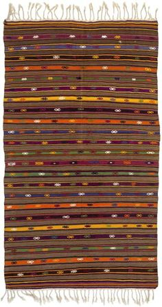 Striped Over Dyed Kilim Rug 4'6'' x 8'2'' ft 136 x 250 cm