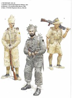 BRITISH ARMY - Far East, 1941-45 -1) Havildar, 5/14th Punjab Regiment, Malaya 1941 - 2) Rifleman, 1/7th Gurkha Rifles, Burma 1942 - Naik, 1/11th Sikh Regiment, Burma 1944-45