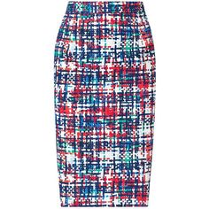 L.K. Bennett Largo Pencil Skirt, Multi ($130) ❤ liked on Polyvore featuring skirts, bottoms, юбки, knee length pencil skirt, cotton skirt, blue cotton skirt, cotton summer skirts and summer skirts