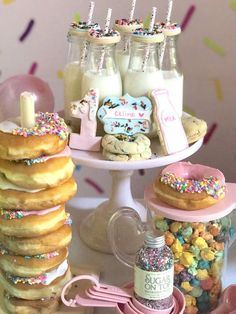 "Savory sweets, sprinkles and tassels, this ""Donut"" Grow Up Birthday Party is fantastical! See it at Kara's Party Ideas today! Donut Birthday Parties, Donut Party, Birthday Fun, Birthday Ideas, First Birthday Party Themes, Birthday Cookies, Birthday Pictures, Grown Up Parties, Baby Girl 1st Birthday"