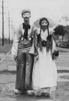 Costumed couple at Mardi Gras in New Orleans in 1937.