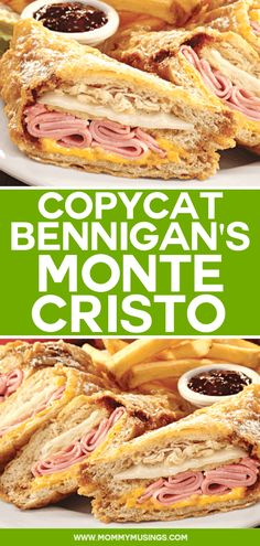 Cristo Sandwich Bennigans Monte Cristo - Copycat recipe for the best Monte Cristo Sandwich!Bennigans Monte Cristo - Copycat recipe for the best Monte Cristo Sandwich! Sandwich Bar, Roast Beef Sandwich, Soup And Sandwich, Recipe For Sandwich, Easy Sandwich Recipes, Bennigans Monte Cristo Recipe, Lunch Recipes, Clean Eating Snacks, Snacks