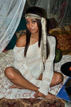 Boho Beauty Yecenia in this amazing Bohemian Goddess Bedroom. I want this whole set up!