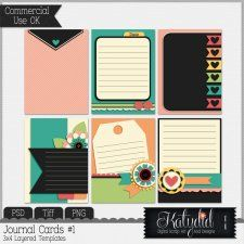 Journal or Pocket Scrapbooking Cards Layered Templates Pack No 1