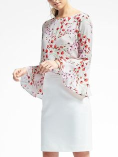 Floral Fluted-Sleeve Top