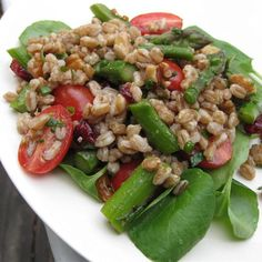 """Farro Salad with Asparagus and Parmesan I """"I made this for an Easter buffet and it was absolutely wonderful! Made especially for vegetarians in the group, but everyone loved it so much."""""""