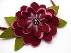 Free Felted Flower Patterns | printable PDF pattern for sewing a pretty felt flower headband or ...