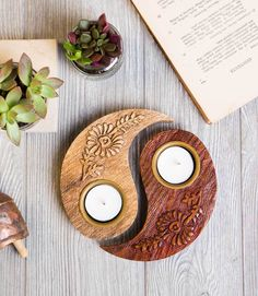 Beautiful Arched Floral Engraved Tea Light Holders In Teak Wood Fair Trade Item
