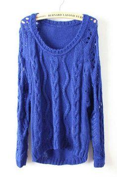 Light Blue Long Sleeve Diaper Hollow Pullovers Sweater