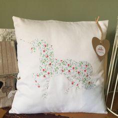 Unicorn Cushion Pillow - Unicorn Silhouette - Floral Magical Unicorn design