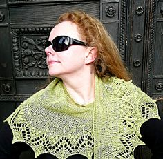 The shawlette is knitted in one piece starting at the outside edge of the lace and the narrow curved shape is created by a unique set of short rows.  The interesting combination of lace and simple stockinette stitches makes Annis a fun and fast project.