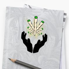 'Holy Joint / Praying For Weed' Sticker by RIVEofficial Weed Stickers, All Art, Art For Sale, Holi, Pray, Custom Design, Moose Art, Digital Art, My Arts