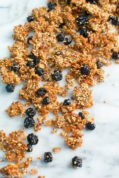 This blueberry chia quinoa granola is a crunchy sweet breakfast that is so easy to make! It's tasty, healthy, & high protein. The whole family will love it!