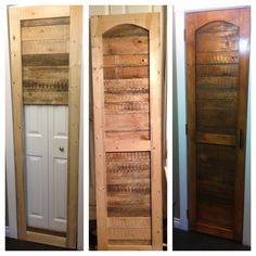 pinner wrote: My first official pallet project:) a pantry door. Next is the spice rack for the back. Pallet Pantry, Pallet Crates, Pallet Art, Diy Pallet Projects, Wooden Pallets, Wood Projects, Pallet Ideas, Deck Furniture, Pallet Furniture