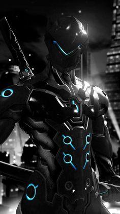 Genji Wallpaper, Qhd Wallpaper, Overwatch Genji, Robot Concept Art, Armor Concept, Genji Shimada, Overwatch Wallpapers, Ninja Art, Futuristic Armour