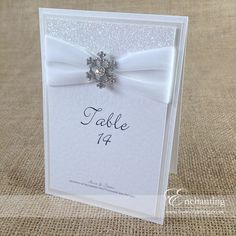 "The Elsa Collection - Table Name / Number Card | Featuring white velvet ribbon, white glitter paper and ""Diamante Snow"" snowflake crystal embellishment 