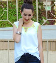 Neon trimmed cutout top from Daisy Rae Boutique