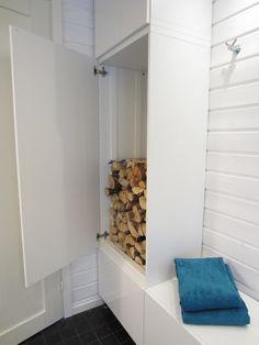 Good idea for firewood! Alcove, Sauna, Alcove Bathtub