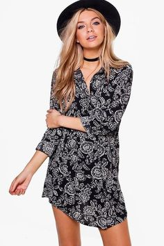 boohoo Kassie Monochrome Floral Shirt Dress