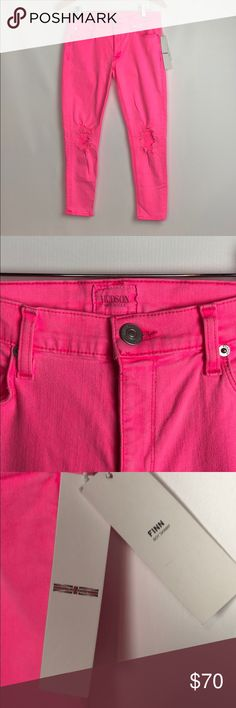 "Hudson Finn Boy Skinny Distressed Jeans in Pink Hudson Finn Boy Skinny Distressed Cropped Ankle Jeans NWT  Size 27""   Vivid Barbie pink color 💗  Five-pocket style; Union Jack logo at back right. Mid-rise style. Heavy distressing at knees. Relaxed fit. Skinny legs. Hem cropped above ankle. Button/zip fly; belt loops. Cotton/polyester/Lycra® spandex.  Brand new with tags  Perfect for spring & summer  Waist 15"" Rise 8"" Hudson Jeans Jeans Ankle & Cropped"