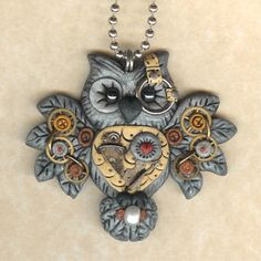 Steampunk Hooty Owl Necklace by freeheart1 @ Etsy