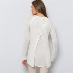 Camisola-túnica com lantejoulas, aberta atrás, em voile