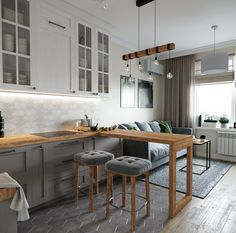 Kitchen Layout Design with Marble backsplash, soap stone countertops and white cabinets Small Apartment Interior, Condo Interior, Apartment Design, Kitchen Interior, Interior Design Living Room, Kitchen Decor, Studio Kitchen, Living Room Kitchen, Home Kitchens