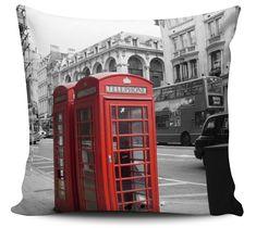 Almofada decorativa Londres Telefone Vermelho