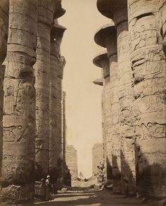 Columns of the hypostyle hall of the Precinct of Amun-Re in Karnak,Egypt in 1870.