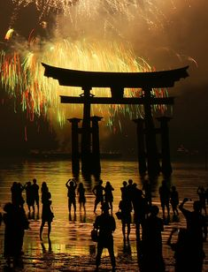 Fireworks at Itsukushima shrine, Hiroshima, Japan