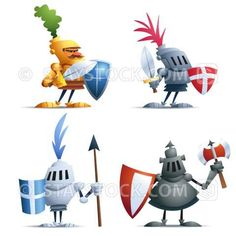 Cartoon of four little Knights. Game Character Design, Character Art, Cartoon Knight, Video Game Characters, Disney Characters, Communication Design, Comic Styles, Children's Book Illustration, Clay Art