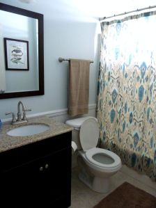 blue bathroom with wainscotting