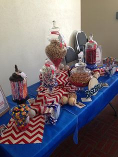 Baseball boy baby shower so cute ! I would do this but mix in all the major sports