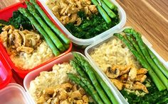 Photo by @bro_dred  This simple prep idea from self-proclaimed #fitnessfreak @bro_dred is  perfect for those looking for a hearty, healthy meal.  Main Ingredients:  Protein:       * Chicken with mushrooms  Vegetables:      * Spinach     * Asparagus  Grain/Starch:      * Brown rice  Notes: 100g of each used.  More on MealPrepSociety.com:      * More Ideas + Recipes     * Submit Your Prep Share with your friends: