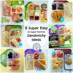 Super easy sandwich-y ideas for lunch. For kids who are tired of sandwiches and adults who don't want to make anything else (like me) Easy Sandwich Ideas for Lunch, lunch box ideas in easylunchboxes