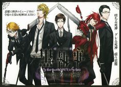 Black Butler Reapers (left to right) Ronald Knox, Eric Slingby, Alan Humphries, Grell Sutcliffe, William T. Spears
