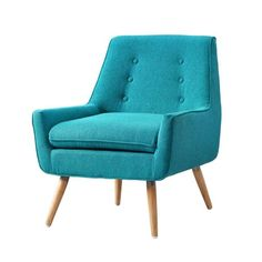 Linon Home Decor Trelis Bright Blue Microfiber Arm Chair 368360MER01U - The Home Depot Stylish Chairs, Modern Chairs, Armchair Bed, Soft Chair, Slipper Chairs, Chair Types, Find Furniture, Furniture Outlet, Online Furniture