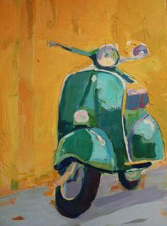 VESPA VERDE Lambretta, Piaggio Vespa, Vespa Scooters, Art Deco Paintings, Art Painting Gallery, Watercolor Paintings, Car Painting, Fabric Painting, Pinturas Art Deco