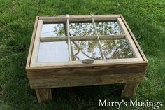 This DIY tutorial explains how to make a window table for the rustic look for practically nothing. Great furniture idea for the repurposed shabby chic look. Antique Window Frames, Antique Windows, Old Windows, Vintage Windows, Window Coffee Table, Window Table, A Table, Window Unit, Wood Tables